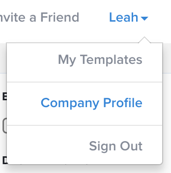 Company profile edit in the navigation bar